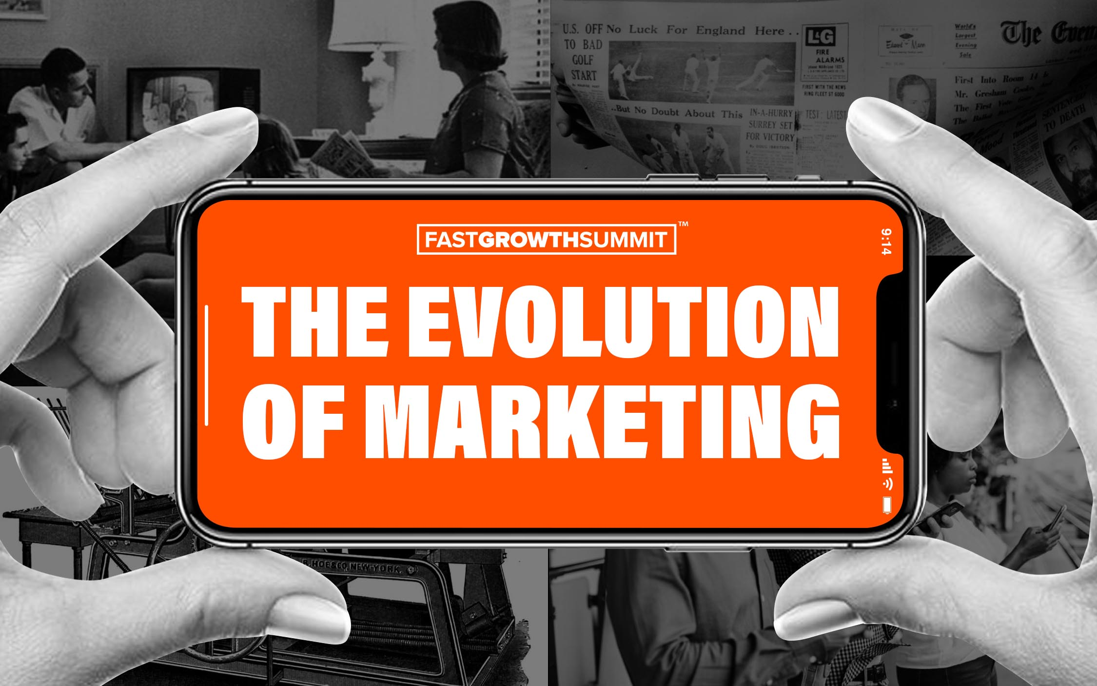 "A banner of hands holding a phone, displaying the text ""The evolution of marketing"""
